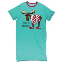 "Lazy One ""I Don't Do Mornings"" Women's Nightshirt in Aqua"