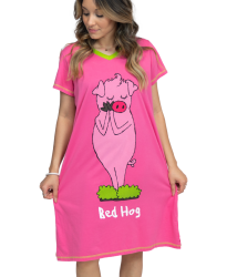 Lazy One Bed Hog V-Neck Nightshirt in Pink