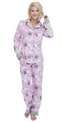 "Munki Munki Women's Pink ""Black Sheep"" Classic Flannel Pajama Set"