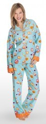 "Munki Munki Women's ""Breakfast In Bed"" Flannel Pajama Set in Blue"
