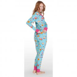 Munki Munki Women's Breakfast In Bed Snap Front Rib Union Suit in Blue