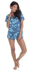 Munki Munki Women's Cloud Formations Jersey Classic Shorts Pajama Set