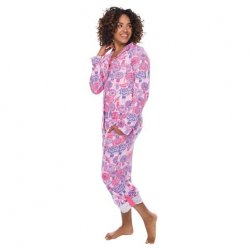 Munki Munki Women's Cochella Umbrella Cotton Jersey Classic Pajama Set