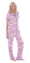 Munki Munki Women's Cockatoo Short Sleeve Classic Pajama Set