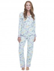 "Munki Munki Women's ""Fancy Cheese"" Classic Flannel Pajama Set"