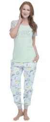 "Munki Munki Women's ""Fancy Cheese"" Tee and Flannel Jogger Set"