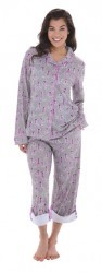 "Munki Munki Grey ""Sock Monkey"" Cotton Jersey Classic Pajama Set"