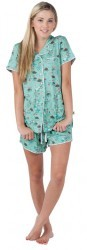 "Munki Munki Women's ""Leap Froggin' Turtles"" Cotton Jersey Pajama Shorts Set in Aqua"