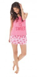 "Munki Munki Women's ""Life is Sweet"" Watermelon Jersey Loose Tank and Short Set"