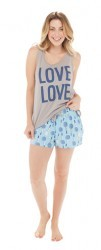 "Munki Munki Women's ""Love Love"" Jersey Loose Tank and Short Set"