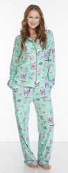 "Munki Munki Women's ""Movie Date"" Cotton Jersey Pajama Set in Aqua"