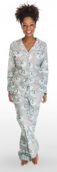"Munki Munki Women's ""Penguins"" Flannel Pajama Set in Grey"