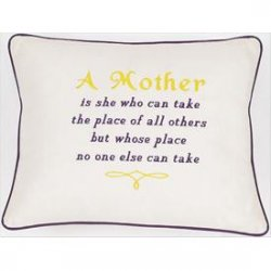 """A Mother is..."" Cream Embroidered Gift Pillow"