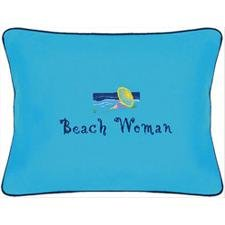 Beach Woman Blue Embroidered Gift Pillow