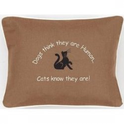 """Dogs Think They Are Human...Cats Know They Are!"" Tan Embroidered Gift Pillow"