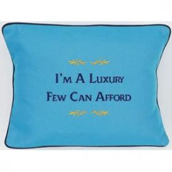 """I'm A Luxury Few Can Afford"" Blue Embroiedered Gift Pillow"