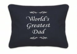 Worlds Greatest Dad Black Embroidered Gift Pillow