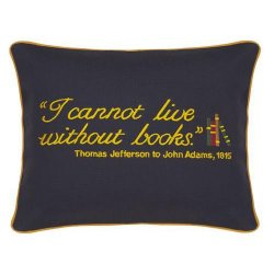 I Cannot Live Without Books Embroidered Gift Pillow