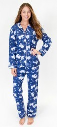 "PJ Salvage Women's Fantastic Flannels ""Batik"" Pajama Set in Navy"