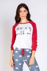PJ Salvage Bear With Me Jersey Long Sleeve Top in Brick
