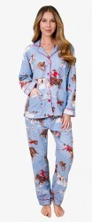 PJ Salvage Women's Bronco Flannel Pajama Set in Blue