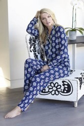 "PJ Salvage Navy ""Coastal Medallion"" Classic Pajama Set"
