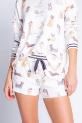 PJ Salvage Coffee + Canines Peachy Jersey Short in Ivory