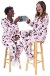 "PJ Salvage Women's Fantastic Flannels ""Coffee Time"" Pajama Set in Blush"