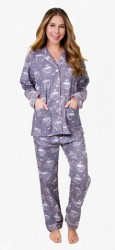 PJ Salvage Women's Coffee Time Flannel Pajama Set in Dove