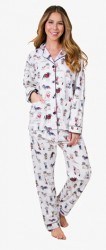 PJ Salvage Women's Cool Cowboy Dogs Flannel Pajama Set in Ivory