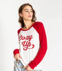 PJ Salvage Cozy Up Long Sleeve Jersey Top in Ivory