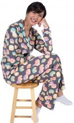 "PJ Salvage Women's ""Donuts"" Playful Print Cotton Pajama Set in Grey"