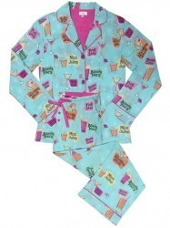 "PJ Salvage Women's ""Drinks"" Playful Print Cotton Pajama Set in Aqua"
