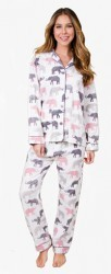 PJ Salvage Women's Elephant Walk Flannel Pajama Set in Ivory