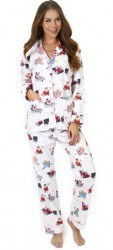 "PJ Salvage Women's Fantastic Flannels ""Fat Cat"" in Natural Pajama Set"