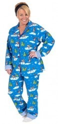 "PJ Salvage Women's Fall Into Flannel ""Skating Moose"" Pajama Set in Blue"
