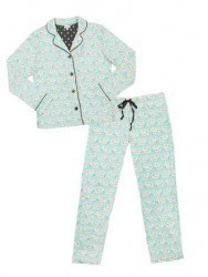 "PJ Salvage Aqua ""Playful Lamb"" Classic Pajama Set"