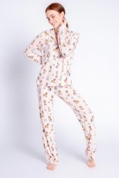 PJ Salvage Playful Prints Dog Love Cotton Jersey Classic Pajama Set in Blush