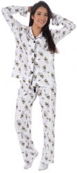 "PJ Salvage Women's ""Playful Queen Bee"" Classic Pajama Set in Ivory"