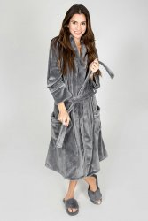 PJ Salvage Luxe Plush Robe in Grey