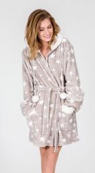 PJ Salvage Cozy Stars Robe in Heather Grey