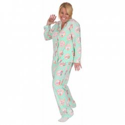 "PJ Salvage Women's ""Soda Pop"" Playful Print Cotton Pajama Set in Mint"