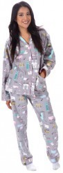 "PJ Salvage Women's Fantastic Flannels ""Travel"" Pajama Set in Dove"
