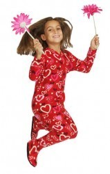 """Hearts Glow"" Kids Fleece Footy Pajama in Red"