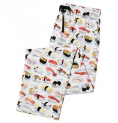 "The Cat's Pajamas Men's ""Sushi"" Poplin Pajama Pant in White"