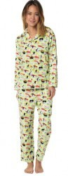 "The Cat's Pajamas Women's ""Wasabi Sushi"" Poplin Cotton Pajama Set in Green"