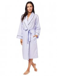 The Cat's Pajamas Women's Classic Lavender Luxe Pima Shawl Collar  Robe