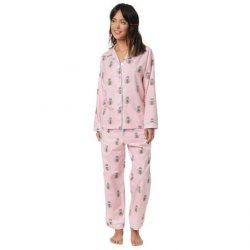 The Cat's Pajamas Women's Queen Bee Flannel Classic Pajama Set in Pink
