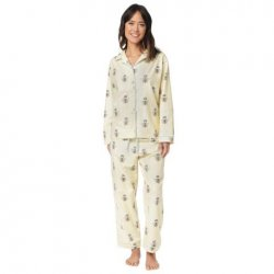 The Cat's Pajamas Women's Queen Bee Flannel Classic Pajama Set in Creme
