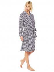 The Cat's Pajamas Women's Black Gingham Luxe Pima Kimono Robe